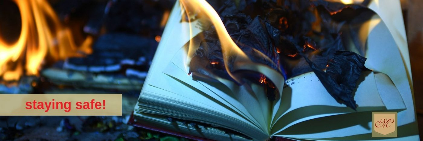 fire in house burning books