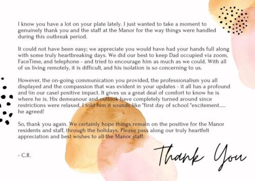 Appreciation Letter from our Varsity Resident