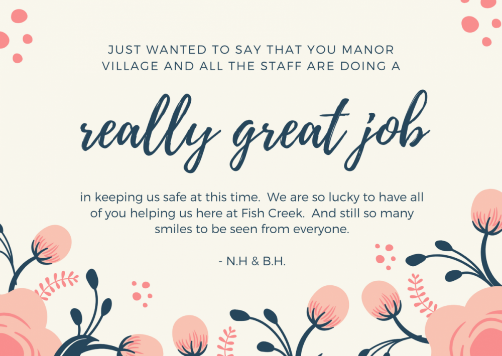Appreciation Letter from our Fish Creek Park Resident